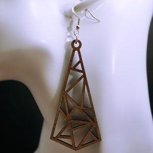 Triangle geometric wood laser cut drop earrings